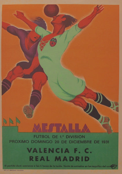1931 Spanish Soccer Poster, Mestalla, Valencia vs. Real Madrid