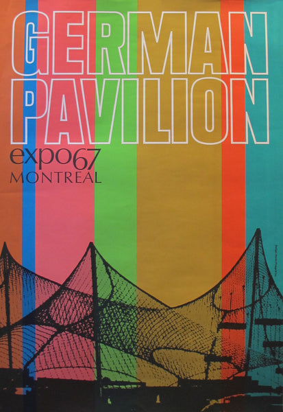 1967 Vintage Montreal Poster, Expo 67, German Pavilion