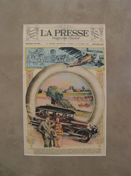 1929 Matted Quebec Advertisement Poster, La Presse  Montreal Auto Show - Georges Latour
