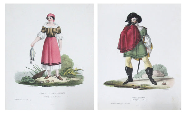 1799 Italian Clothing Design Pochoirs, Fisherwoman/Knight