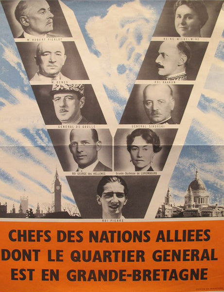 1940s Original French WWII Propaganda Poster, Chefs des Nations Alliées
