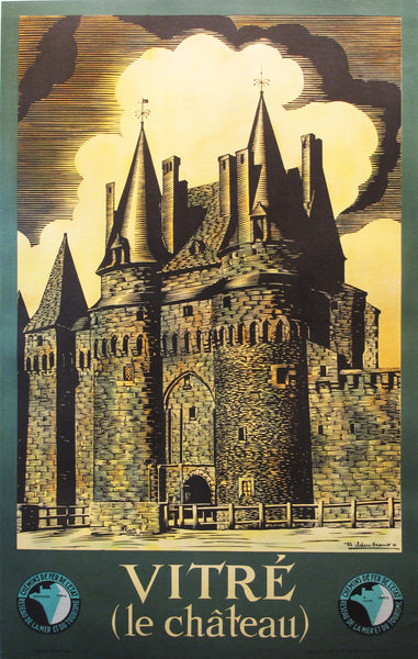 1940s Original French Travel Poster, Vitre Chateau