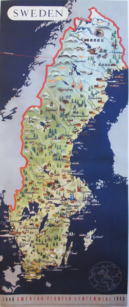 1948 Vintage Swedish 2-Sheet Travel Map Poster, Swedish Pioneer Centennial