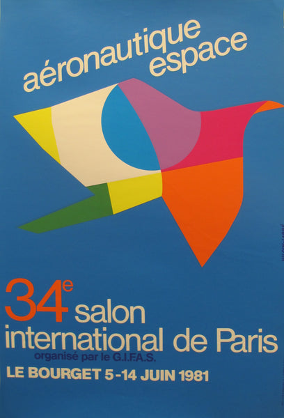 1981 Original French Aviation Poster, Aéronautique Espace (Le Bourget), 34e Salon international de Paris