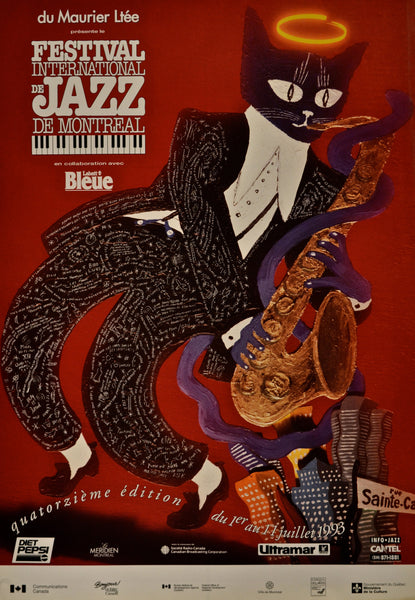 1993 Original Poster, Festival International de Jazz de Montréal - Yves Archambault for Publicité Sauvage