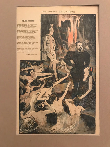 1900s Original French Art Nouveau Poster, Gil Blas, Don Juan aux Enfers (Don Juan in Hell)