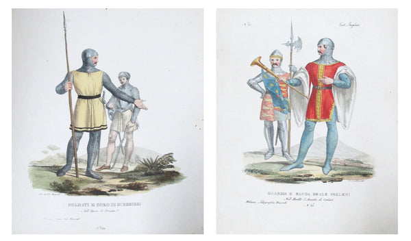 1799 Italian Clothing Design Pochoirs, Soldiers