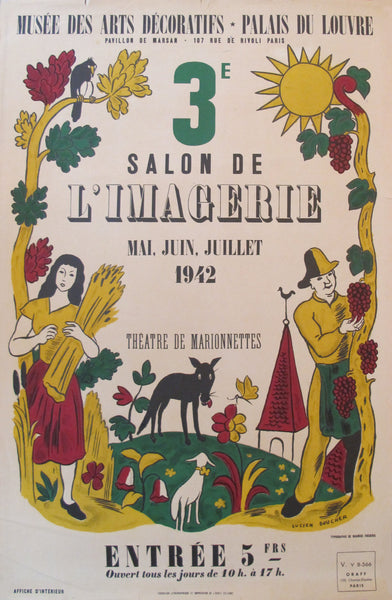 1942 French Exhibition Poster, 3e Salon de l'imagerie