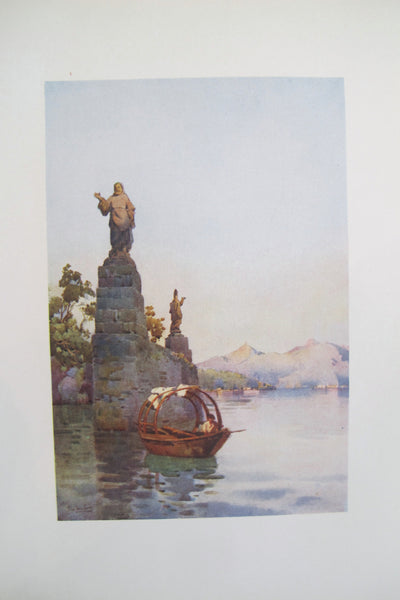1905 Original Italian Print - Italian Travel Colour Plate - Entrance to the Villa Arconati, Lago di Como