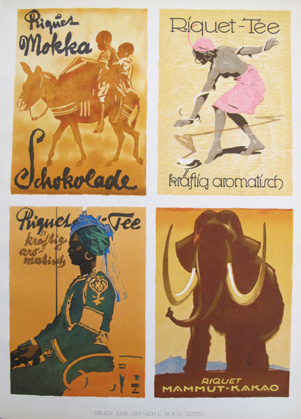 1926 Original German Art Deco Poster, 4 Mini Posters by Hohlwein (On one sheet)