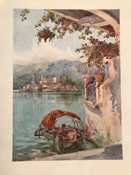 1905 Original Italian Print - Italian Travel Colour Plate - An Archway at Orta