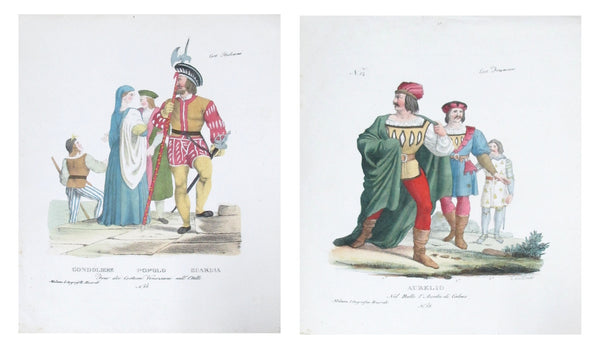 1799 Italian Clothing Design Pochoirs, Set of 2 (Gondoliere, Popolo, Guardia, Aurelio)