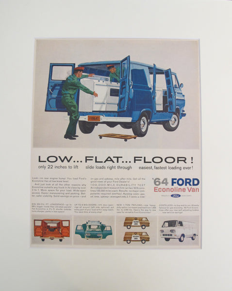 1960s Vintage Matted American Car Advertisement, '64 Ford