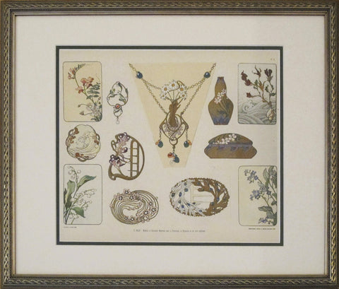 1901 Librarie d'Art Decoratif, Framed Art Nouveau Design Sheet #6