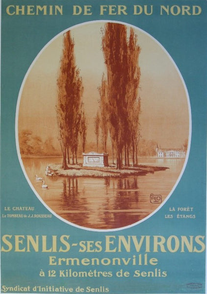 1920s Original French Railway Poster, Senlis-ses Environs - ALO (Charles Hallo)