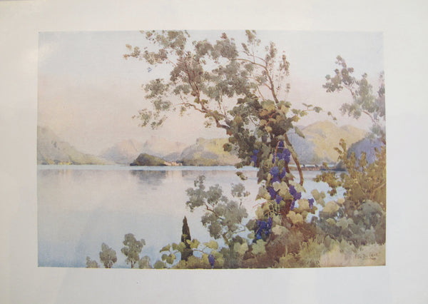 1905 Original Italian Print - Italian Travel Colour Plate - Evening, Lago di Como