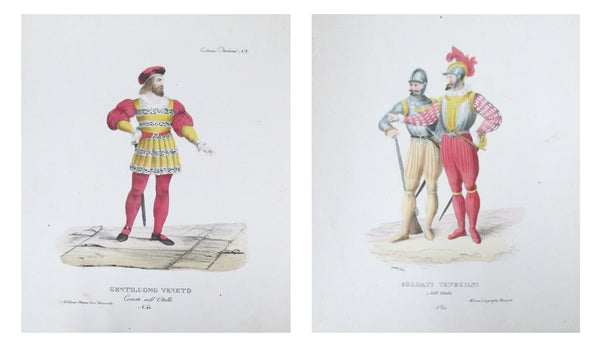 1799 Italian Courtly Clothing Design Pochoirs, (Venetian Gentleman, Soldier)