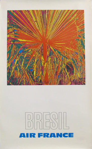 1971 Vintage French Travel Poster, Air France Bresil (Brazil)