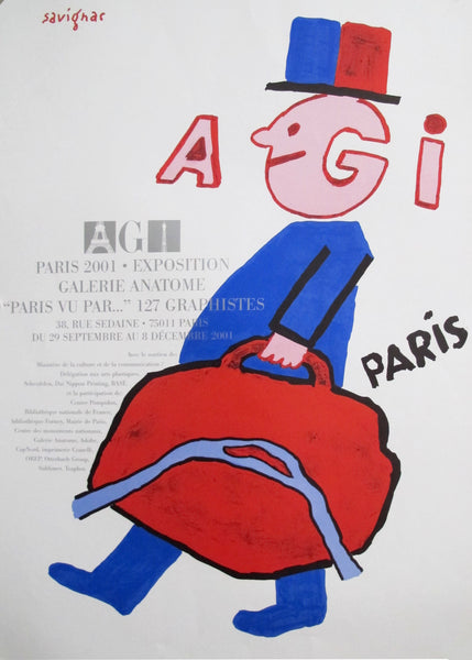 2001 Original French A.G.I. Paris Poster - Savignac