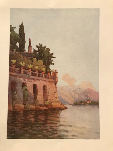 1905 Original Italian Print - Italian Travel Colour Plate - A Terrace Wall, Lago Maggiore