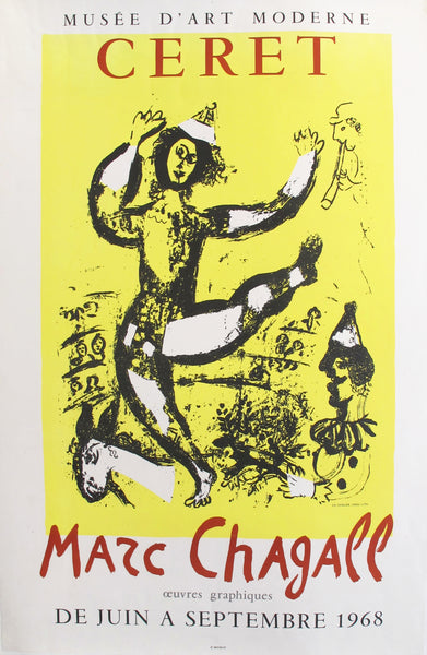 1968 Vintage French Chagall Exhibition Poster, Ceret