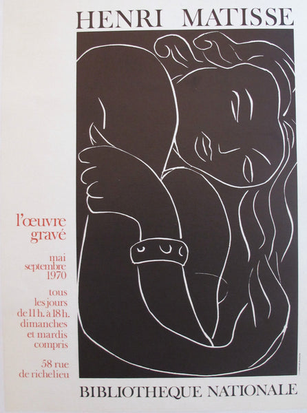 1970 French Henri Matisse Exhibition Poster, L'Oeuvre Gravé