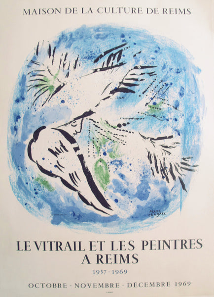 1969 French Exhibition Poster Marc Chagall Le Vitrail et les Peintres (Angel on Blue Background)