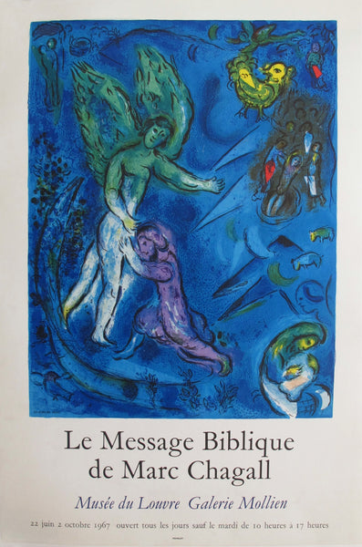 1967 Original French Exhibition Poster by Marc Chagall - Le Message Biblique