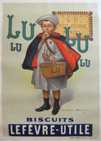 1930s Original Vintage Advertisement poster - Biscuits LU Lefèvre-Utile, Le Petit Écolier (Large version)