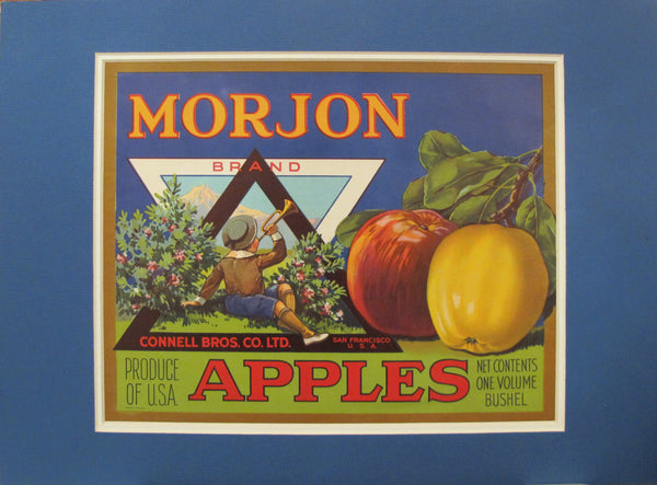 1940s American Fruit Crate Label, Morjon Apples