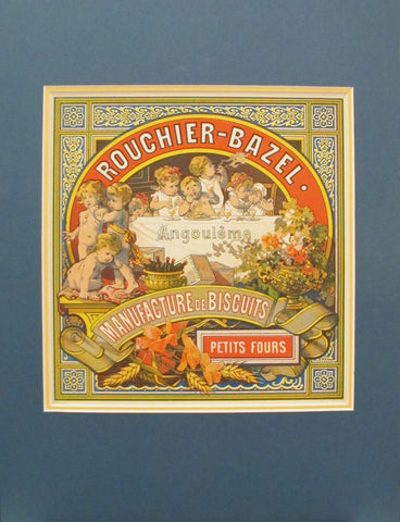 1890s Antique French Biscuit Label, Rouchier Bazel Petits Fours
