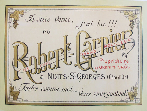 1910s French Vintage Wine Advertisement Poster - Robert Garnier - Nuits-St-Georges