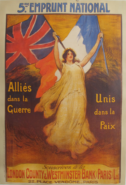 1919 Original British Political Poster - 5e Emprunt National - Allies dans la Guerre