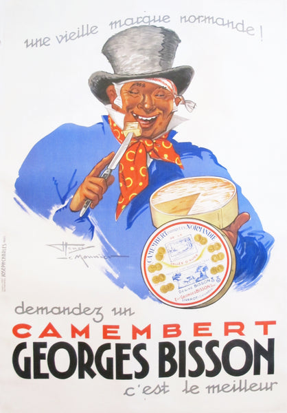 1937 Original French Art Deco Poster, Camembert Georges Bisson