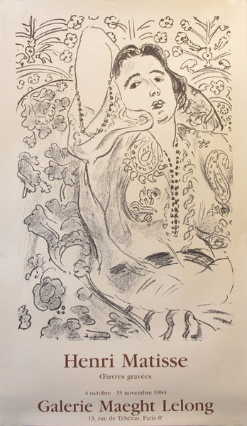 1984 Original Matisse Exhibition Poster, Maeght Lelong Gallery, Odalisque - Matisse