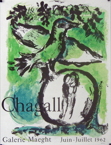 1962 Original French Chagall Exhibition Poster, L'Oiseau Vert - Chagall
