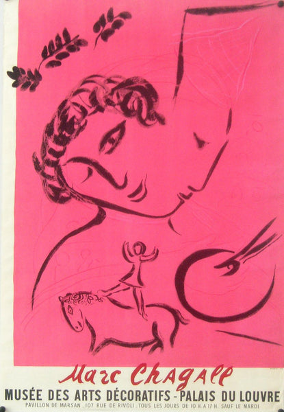 1959 Original French Exhibition Poster, Le Peintre en Rose  - Chagall