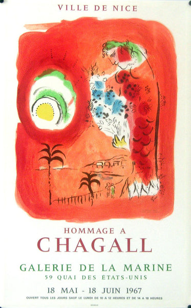 1967 Original French Exhibition Poster, Nice, Hommage A Chagall - Chagall
