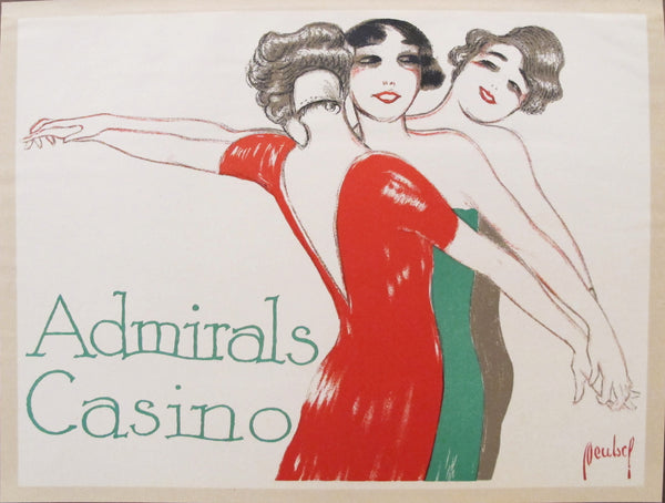 1927 Vintage German Mini Poster, Admirals Casino
