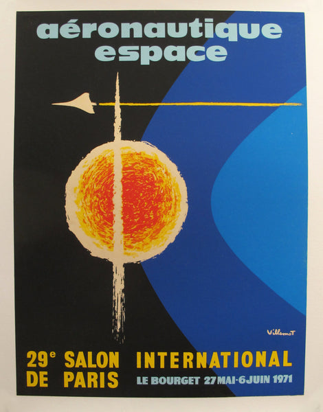 1971 Original French Aviation Poster, Aéronautique Espace (Le Bourget) - Villemot, 29e Salon International de Paris.