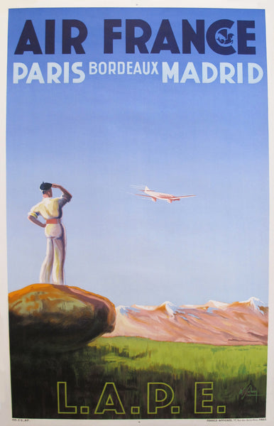 1936 Air France Poster, Paris Bordeaux Madrid LAPE
