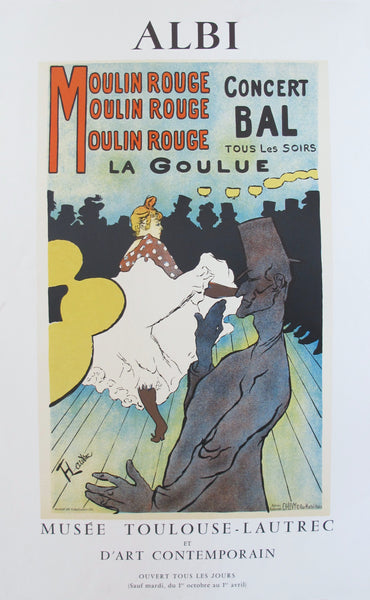 1980s French Exhibition Poster, Musee Toulouse-Lautrec, Moulin Rouge
