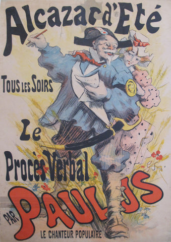 1891 Original French Belle Époque Poster, Alcazar D'Ete, Le Proces Verbal