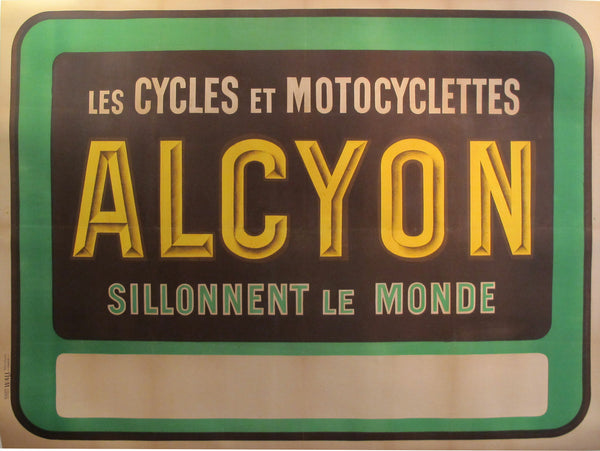 1910's Original French Art Nouveau Poster - Alcyon - Les Cycles et motos - Sillonnent le monde (Green)