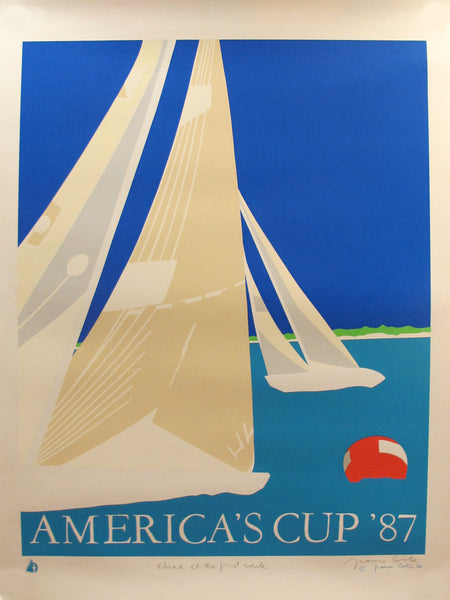 1986 Original America Contemporary Poster - Ahead at the first mark - America's Cup 87 (Hand-signed)