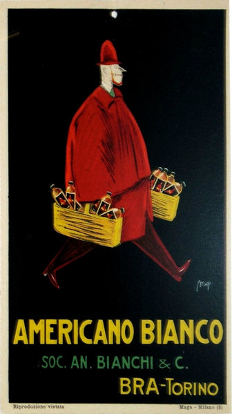 1933 Original Italian Art Deco Carton, Americano Bianco Advertisement - Maya - Carton