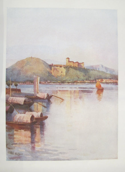 1905 Original Italian Print - Italian Travel Colour Plate - Angera, Lago Maggiore