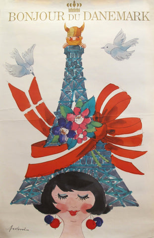 1960s Original Danish Travel Poster, Bonjour du Danemark
