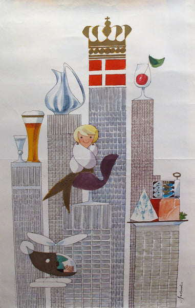 1964 Danish Poster, New York World's Fair (Mermaid, helicopter)