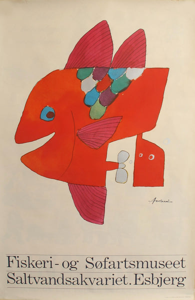 1968 Original Danish Design Poster - Fiskeri-og Sofartsmuseet (Red Fish)